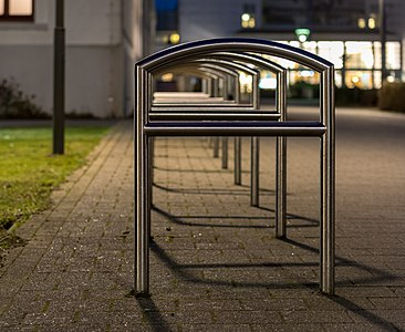 Bicycle stands at the Kurplatz, Norderney, Lower Saxony, Germany