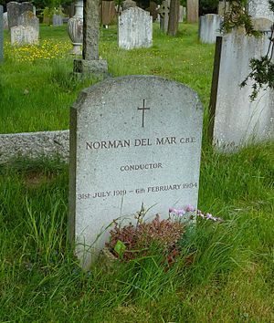 Norman Del Mar - Norman Del Mar's grave at St Peter's Church in Limpsfield, Surrey, photographed in 2013