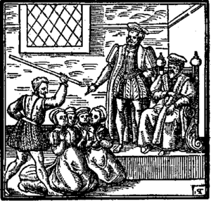 Daemonologie - Suspected witches kneeling before King James; Daemonologie (1597)