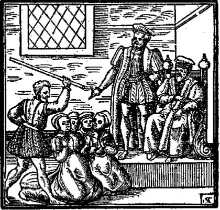 ジェームズ王の前にひざまずく魔女の疑い。 デーモンロギー(1597)