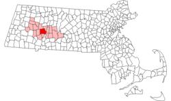 Localização no condado de Hampshire em Massachusetts