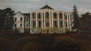 Nottoway Plantation - Painting by Cornelia Randolph showing original garden landscape
