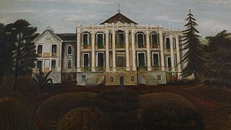 Nottoway Plantation - Painting by Cornelia Randolph showing original garden landscape