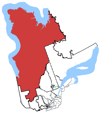 Abitibi—Baie-James—Nunavik—Eeyou - Abitibi—Baie-James—Nunavik—Eeyou in relation to other Quebec federal electoral districts