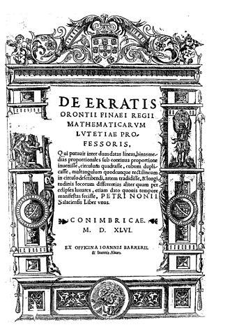 Pedro Nunes - De erratis Orontii Finaei, 1546