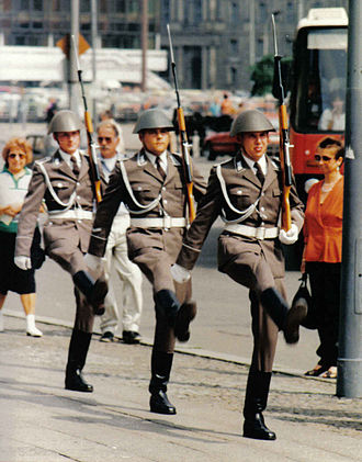 National People's Army - Soldiers of the Guard Regiment Friedrich Engels marching at a changing-of-the-guard ceremony at the Neue Wache on the Unter den Linden in Berlin.