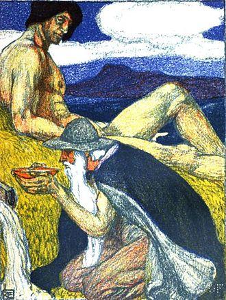 Mímisbrunnr - Odin drinks from Mímisbrunnr as Mímir looks on (1903) in a work by Robert Engels