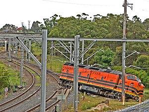 English: A goods train derailment in or near B...