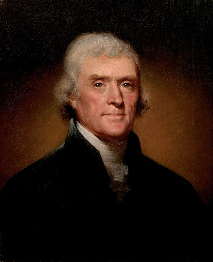 Official Presidential portrait of Thomas Jefferson (by Rembrandt Peale, 1800)(cropped)