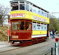 A vintage British tram from the former Leeds Tramway, preserved at the National Tramway Museum.
