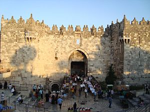Walls of Jerusalem - Damascus gate with its crenelations
