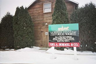 Hormel - The building in which George A. Hormel started his business. Preserved at the Mower County Fairgrounds in Austin.