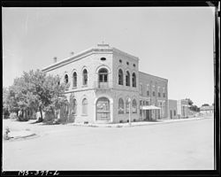 Old building on main street of Aguilar, 1946.