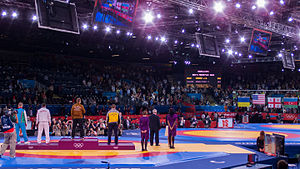 Wrestling at the 2012 Summer Olympics – Men's freestyle 96 kg - Image: Olympic Freestyle Wrestling at Excel 96kg Gold Medal Winner Victory Ceremony 002
