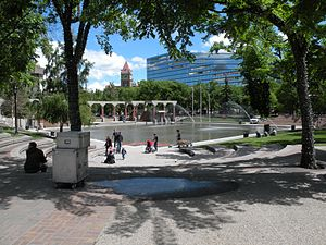 Olympic Plaza (Calgary) - Olympic Plaza with City Hall in the background