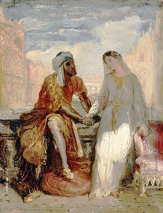 Interracial marriage - Othello, the Moor and Desdemona, his Venetian wife, from William Shakespeare's Othello.