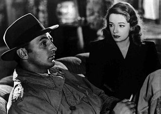 Film noir - Out of the Past (1947) features many of the genre's hallmarks: a cynical private detective as the protagonist, a femme fatale, multiple flashbacks with voiceover narration, dramatically shadowed photography, and a fatalistic mood leavened with provocative banter. The film stars noir icons Robert Mitchum and Jane Greer.