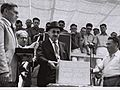 PROF. CHAIM WEIZMANN WITH HIS SECRETARY MEIR WEISSGAL STANDING BEHIND HIM (L) TOUCHING THE EMBOSSED CORNERSTONE FOR THE WEIZMANN INSTITUTE IN REHOVOT.D671-030.jpg