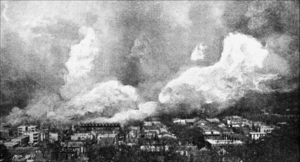 Great Chelsea fire of 1908 - The fire, as viewed from the nearby Chelsea Naval Hospital