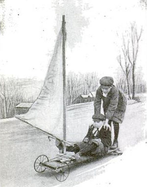 "Kite landboarding - A young boy's 1916 ""windmobile"". (Popular Science Monthly, Feb 1916, p170)"