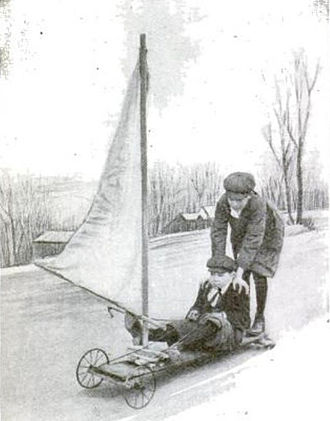"""Kite landboarding - A young boy's 1916 """"windmobile"""". (Popular Science Monthly, Feb 1916, p170)"""