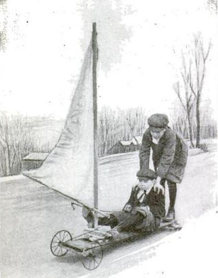 "A young boy's 1916 ""windmobile"". (Popular Science Monthly, Feb 1916, p170) PSM V88 D198 Landboarding street boating.jpg"