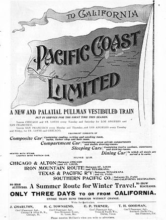 St. Louis, Iron Mountain and Southern Railway - An 1898 ad for the Pacific Coast Limited, which the railway operated jointly with the Chicago and Alton Railroad, Texas and Pacific Railway, and Southern Pacific Railroad.