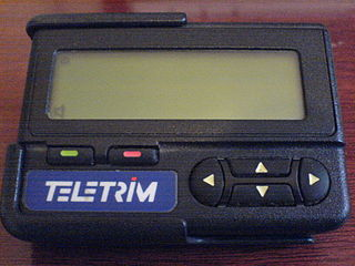 Pager wireless telecommunications device that receives and displays alphanumeric messages and/or receives and announces voice messages; part of a paging system