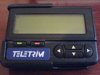 Pager - A Motorola Advisor alphanumeric pager used in Brazil in the 1990s, operated by Teletrim