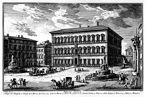 Palazzo Farnese - A mid-18th-century engraving of Palazzo Farnese by Giuseppe Vasi.