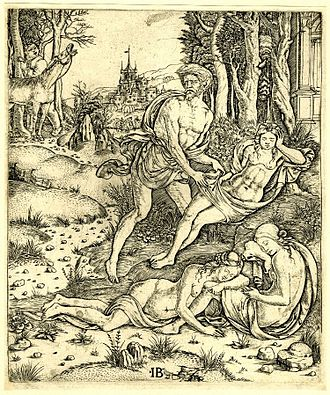 Lotis (mythology) - The story of Priapus and Lotis, engraving by Giovanni Battista Palumba, c. 1510
