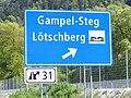Panneau sortie autoroute suisse A9 31 Gampel-Steg Lötschberg.jpg