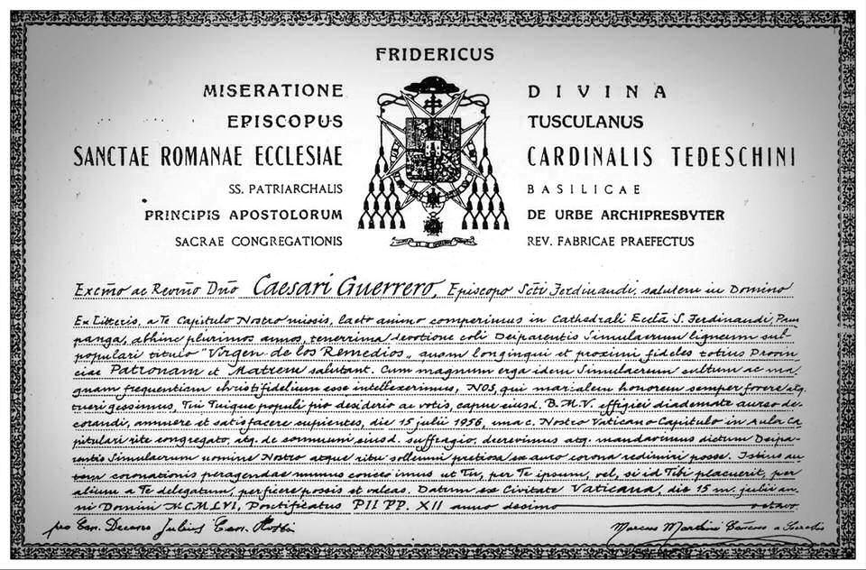 Papal bull for the Canonical Coronation of Virgen de los Remedios de Pampanga from Pope Pius 12th