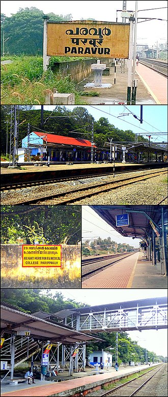 Paravur railway station - From Top clockwise: Paravur railway station name board, North-side view of the station, Platform No.1, Foot over-bridge(FoB), ESIC Medical College hospital's official stoppage notification on the compound wall