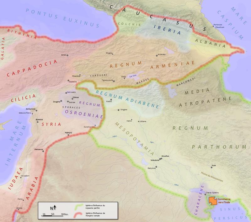 Il teatro delle campagne militari di Traiano (nel 110)