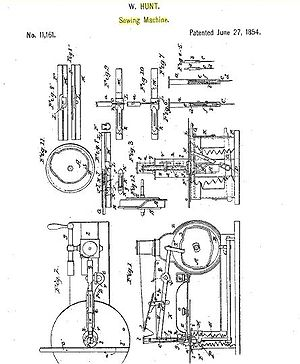 Walter Hunt (inventor) - Image: Patent 11,161