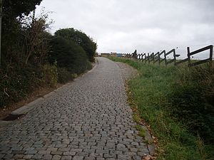 2016 E3 Harelbeke - The cobbled climb of the Paterberg, the steepest hill in the race