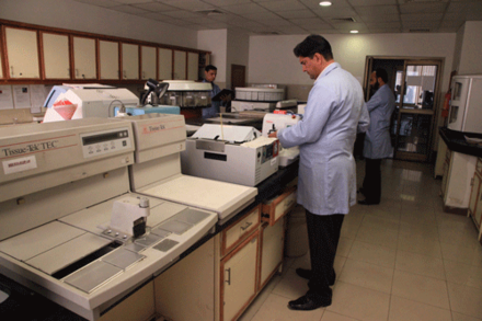 A modern pathology lab at the Services Institute of Medical Sciences Pathology Lab.png
