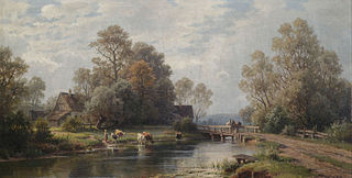 Summer River Landscape near a Farmstead