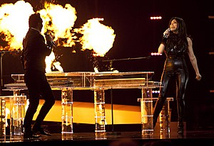 "Paula Seling - Paula Seling and Ovi performing ""Playing with Fire"" during the second semi-final of Eurovision Song Contest 2010."