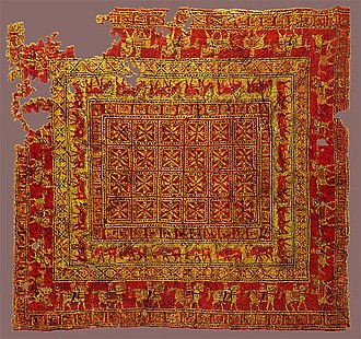 Turkish carpet - The Pazyryk Carpet. Circa 400 BC. Hermitage Museum