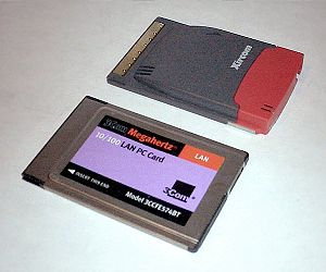 PC Card - Two PC Card devices: Xircom RealPort (top) type III and  3Com (bottom) type II.