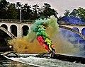 Pedro Meier Rauch Performance »Smoke On The Water«, Installation 2018, mitten auf der Reuss, Bremgarten Aargau, Eisenbahnbrücke nach Wohlen, Photo © Pedro Meier Multimedia Artist.jpg
