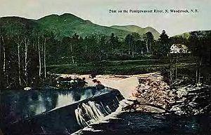 Pemigewasset River - Dam on the Pemigewasset River in 1912, Woodstock, NH