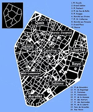 Small ring (Brussels) - A map (in French) of the Pentagon and its neighbourhoods.