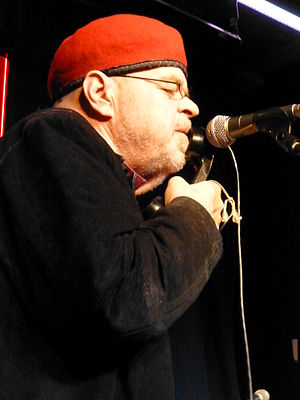Pere Ubu - David Thomas of Pere Ubu on stage at Band On The Wall, Manchester, 18 April 2013