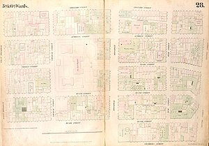 Old Broadway Theatre - Map published in 1853