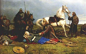 Shield-maiden - Hervor dying after the Battle of the Goths and Huns. A painting by Peter Nicolai Arbo