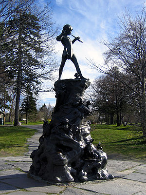 Waterford Valley, St. John's - Statue of Peter Pan in Bowring Park