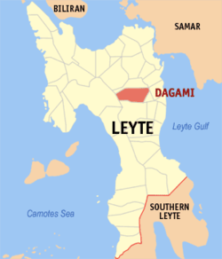 Map of Leyte with Dagami highlighted
